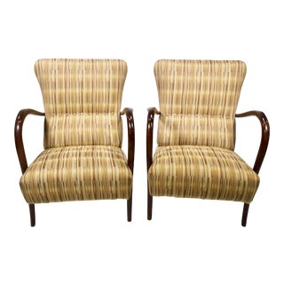 Pair Italian Mid Century High Back Chairs With Bentwood Frames