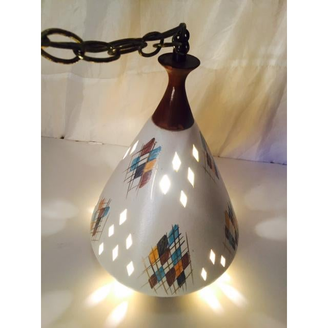 Mid-Century Modern Ceramic & Wood Swag Light - Image 2 of 6