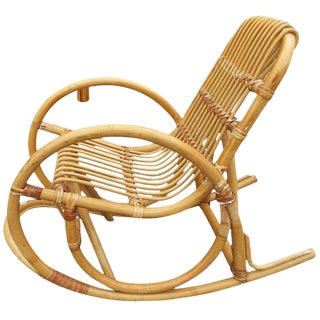 Restored Rare Child's Snake Arm Rattan Rocking Chair