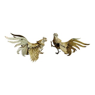 Vintage Italian Brass Fighting Roosters - a Pair
