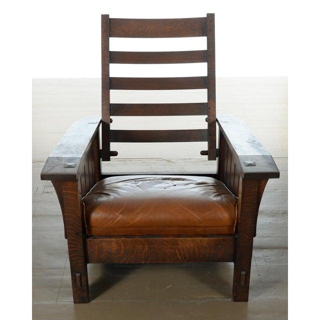 Warren Hile Studio Oak Morris Chair, Brown Leather - Image 6 of 10