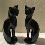 Image of Mid-Century Sleek Black Cat Sculptures - A Pair