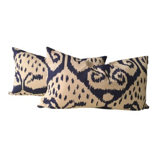 Blue & White Ikat Bolster Pillows - A Pair