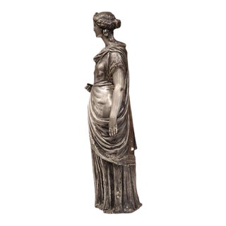 19th Century French Roman Woman in Long Dress Pewter Statue