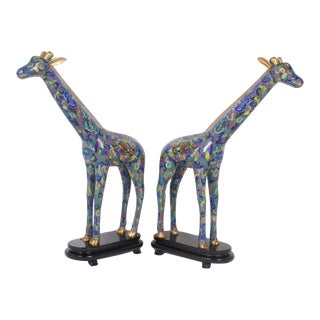 Impressive Pair of Mid-Century Cloisonné Giraffes