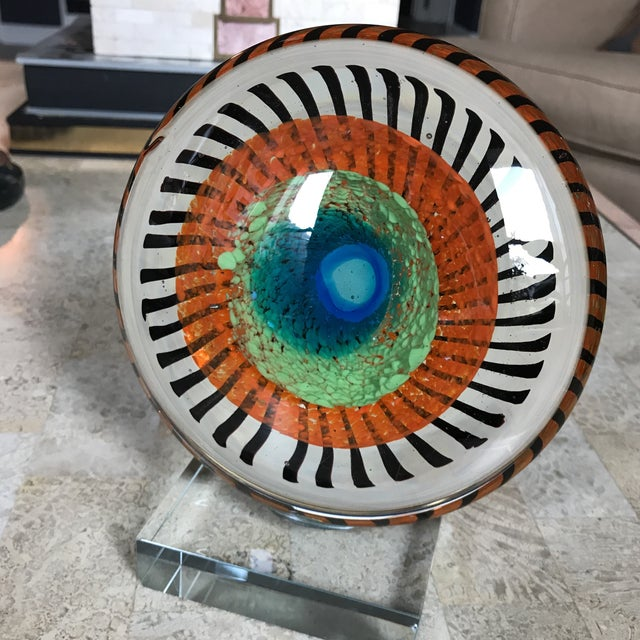 Image of Murano Glass Eye Sculpture on Stand
