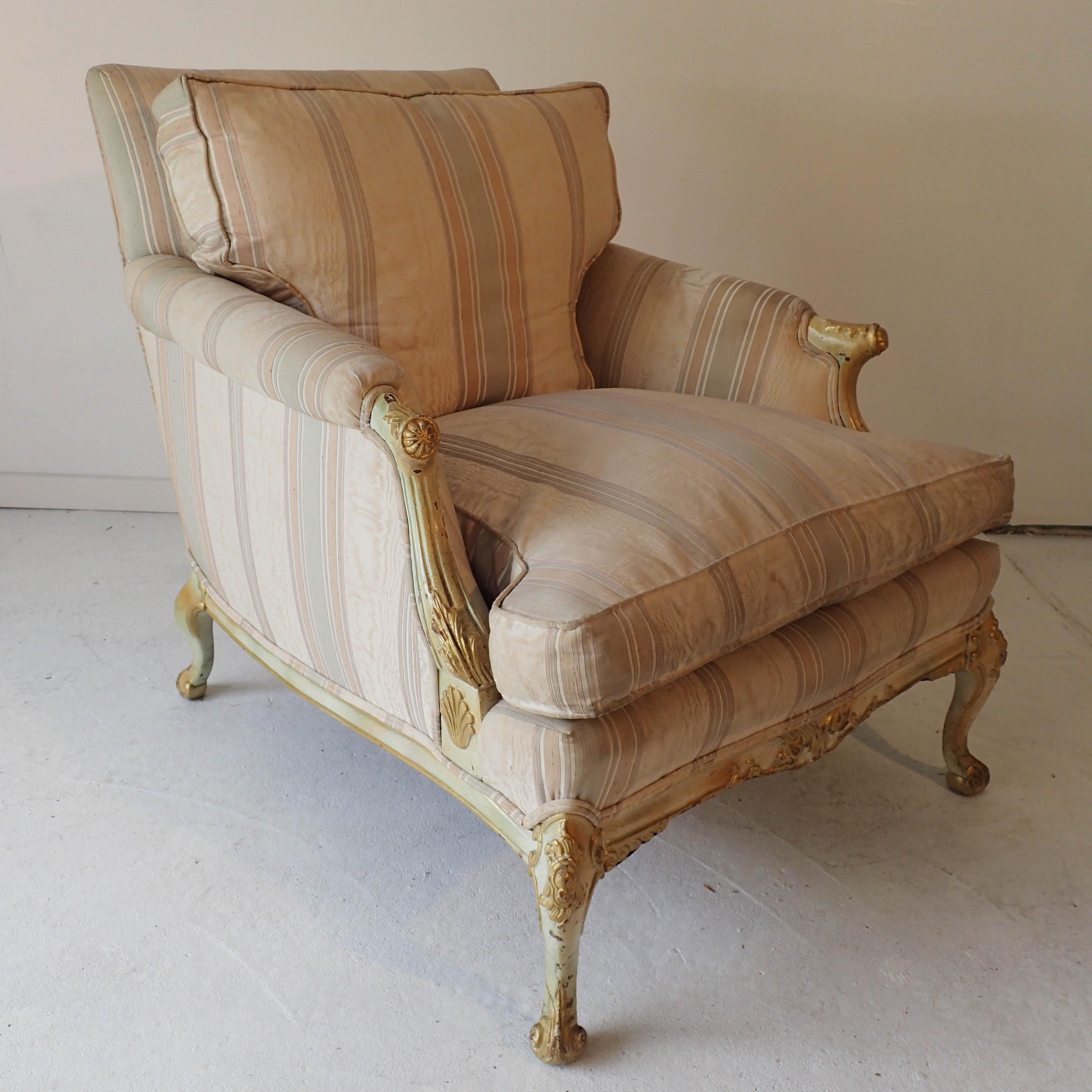 French Romantic Boudoir Style Chair Down Cushion 33H X 30W X 38D   Image 6  Of