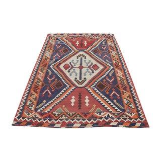 Antique Persian Gasghgai Kilim Rug - 5′7″ × 8′9″