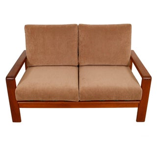 Vintage Teak Loveseat with New Upholstery