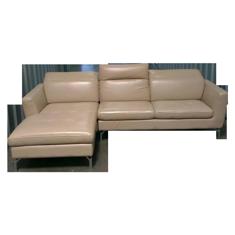 modern beige leather sectional sofa chairish