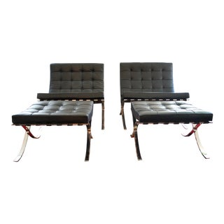 Pair of Barcelona chairs and ottomans by Knoll