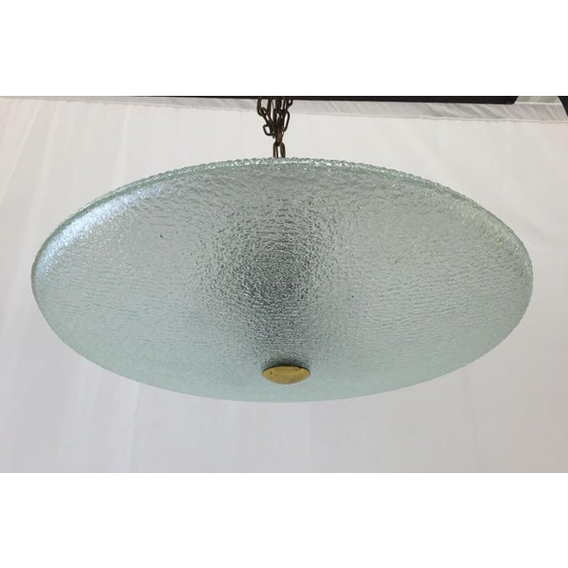 Vintage Mid-Century Glass & Brass Disk Pendant Light - Image 6 of 11