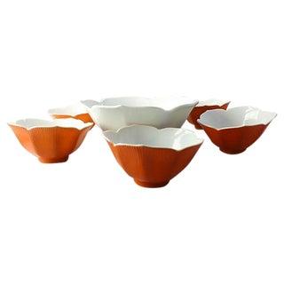 Mid-Century Lotus Dessert Bowls - Set of 6