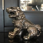 Image of Vintage Silver Plated Foo Dog Paperweight