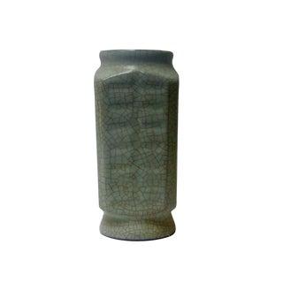 Chinese Light Green Celadon Crackle Glazed Ceramic Vase