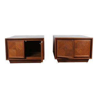 Milo Baughman Style Walnut Chests -- A Pair