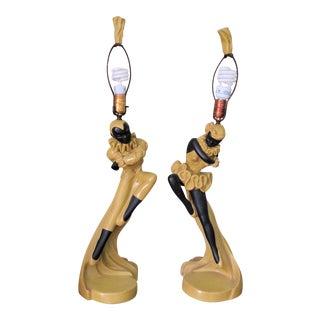 1940's Pierrot & Pierrette Figural Lamps - A Pair