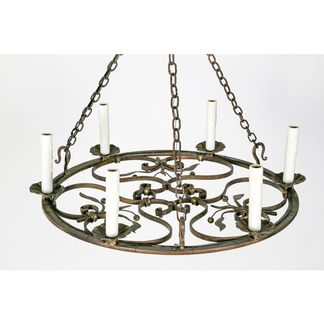 Hand Wrought Flat Leaf and Scroll Chandelier - Image 2 of 8