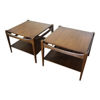 Mid Century Modern Bassett Walnut End Tables Side Tables Square -- A Pair