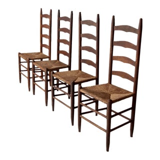 Antique Ladder Back Dining Chairs - Set of 4