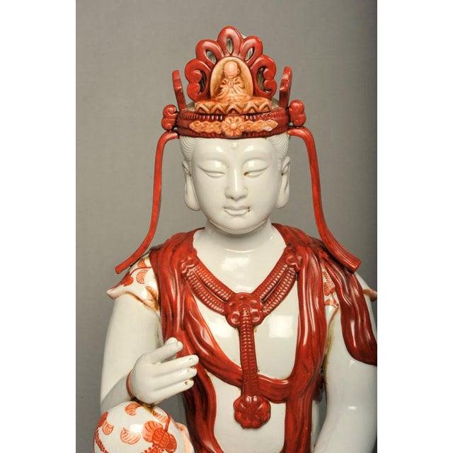 Japanese Hand-Painted Porcelain Bodhisattva Sculpture - Image 6 of 8