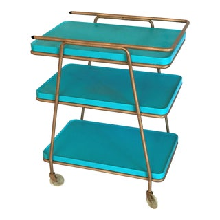 Mid-Century Turqouise & Gold Bar Cart Ca. 1960