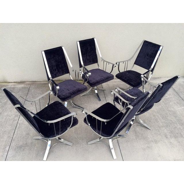 Mid-Century Chrome Swivel Chairs- Set of 6 - Image 5 of 11