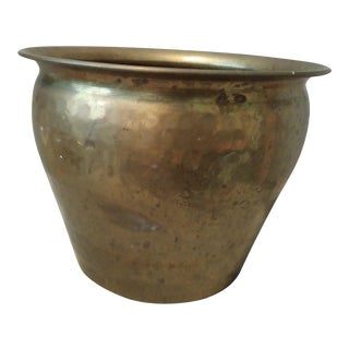Vintage Hammered Brass Pot Planter