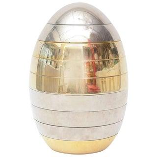 Italian Tommaso Barbi Sculptural Mixed Metal Stacking Tray Egg