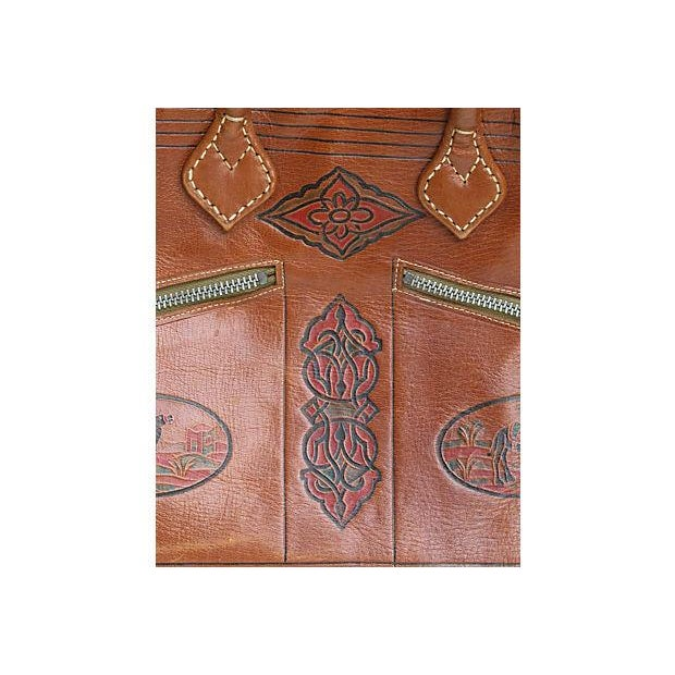 Vintage French Handcrafted Leather Satchel - Image 4 of 9