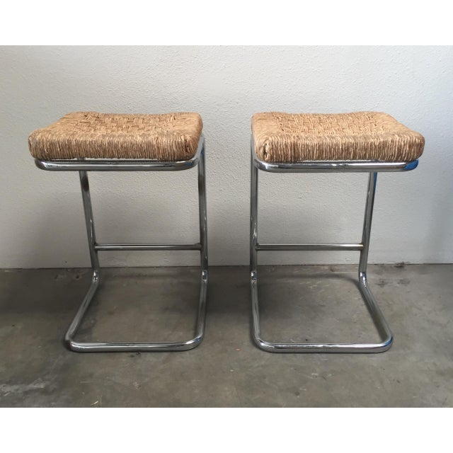 Vintage 1970's Chrome Stools - A Pair - Image 3 of 7