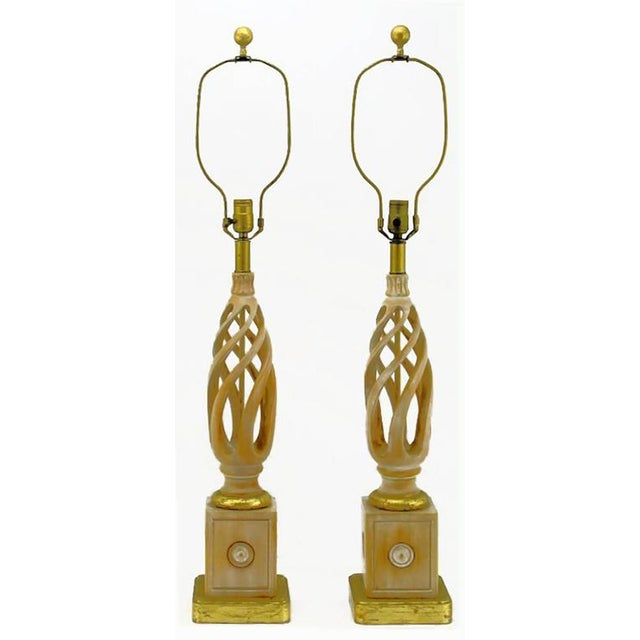 Image of Pair of Frederick Cooper Carved and Limed Barley Twist Table Lamps