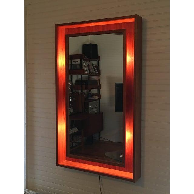 Backlit Teak Framed Mirror by Pedersen & Hansen - Image 2 of 4
