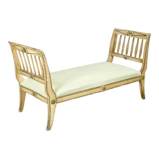 Antique French Painted and Carved Upholstered Bench or Daybed