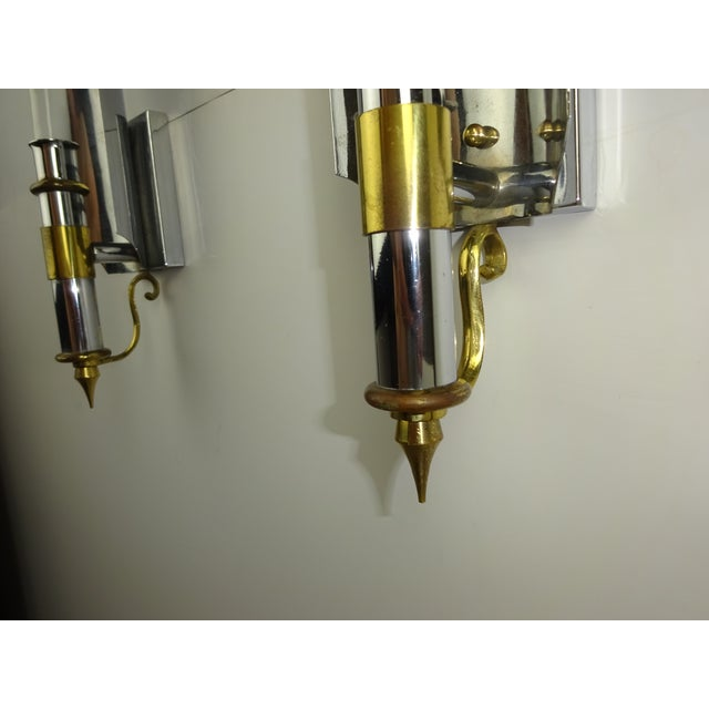 Vintage Chrome Wall Sconces : Vintage 1970s Chrome & Brass Wall Sconces - A Pair Chairish