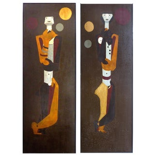 1950's Tall French Abstract Restaurant Panels- a Pair