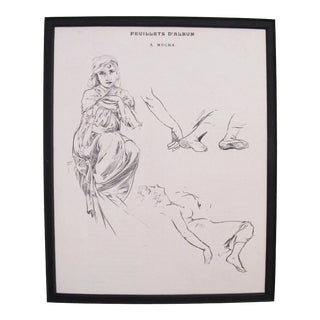 Original 1899 Alphonse Mucha Illustration, Studies of a Woman