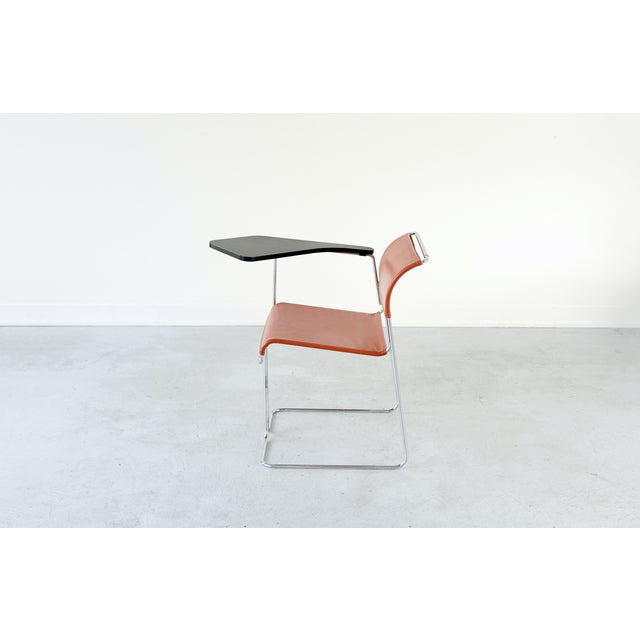 Harter Vintage Orange Vinyl & Chrome Tablet Chair - Image 4 of 6