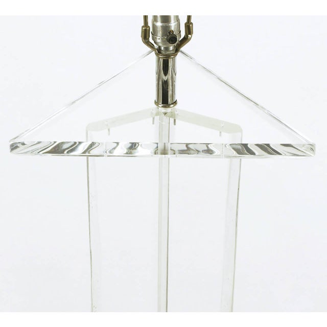 Triangular Trefoil Lucite Floor Lamp - Image 4 of 5