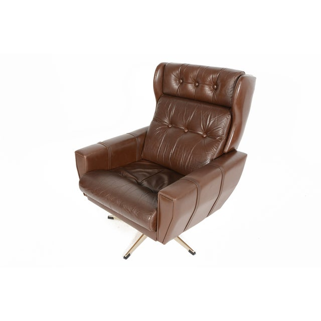High Back Brown Leather Swivel Lounge Chair Chairish