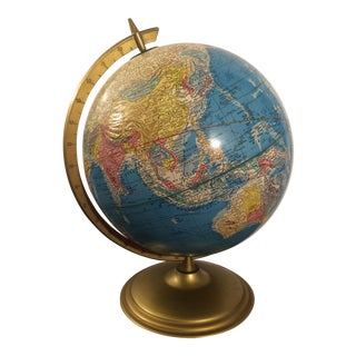 Vintage Cram's Globe on Gold Cradle & Stand