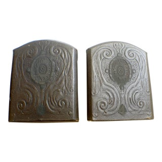 Art Deco Leather Bound Bookends - A Pair