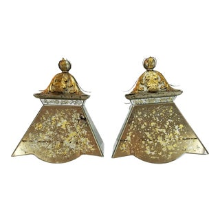 Gold Leaf Eched Mirror Sconces - Pair