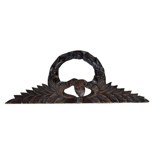 Antique French Carve Pediment Bow Crown - Image 1 of 4