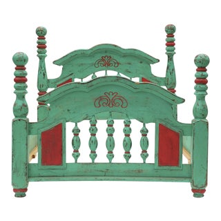 Vintage Mexican Hacienda Green & Red Bedframe