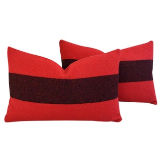 Custom Tailored Red & Black Scottish Wool Feather/Down Pillows - Pair