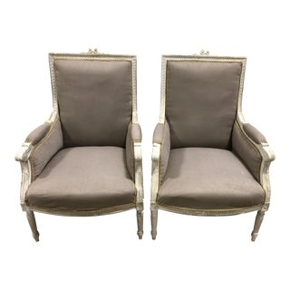 Vintage Upholstered Louis XVI Neoclassical Chairs - A Pair