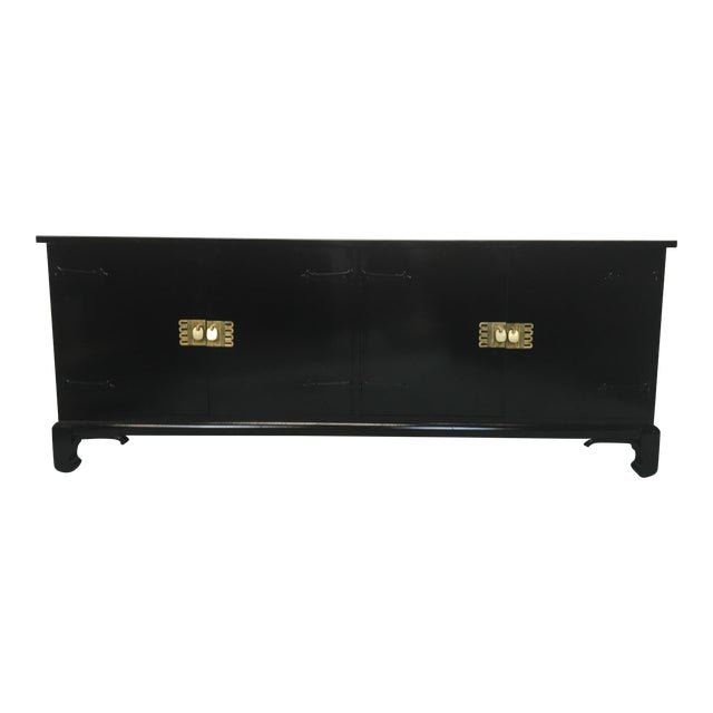 Asian Style Black Lacquered Credenza - Image 1 of 7