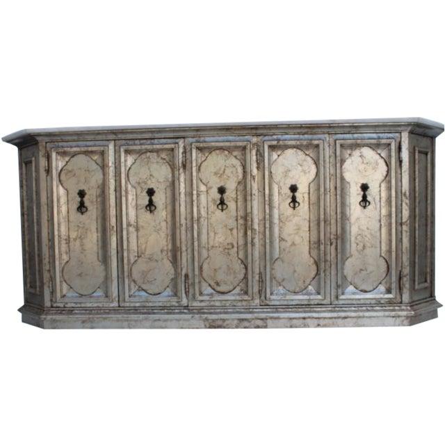 Hollywood Regency Silver Leaf Gabinet & Marble Top - Image 1 of 11