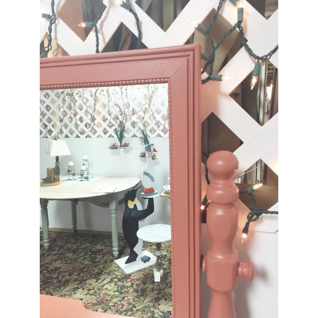 Antique Pink Painted Shabby Chic Vanity & Mirror - Image 4 of 11
